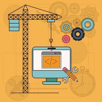 Achtergrond met desktopcomputer apps voor de ontwikkeling van de constructie