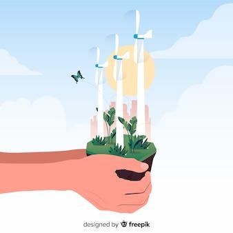 Achtergrond met ecologie en recycling concept