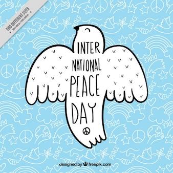 Achtergrond met een duif voor de internationale dag van de vrede