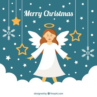 Achtergrond met een engel en kerstversiering