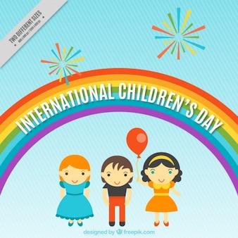 Achtergrond met een regenboog voor de dag van kinderen