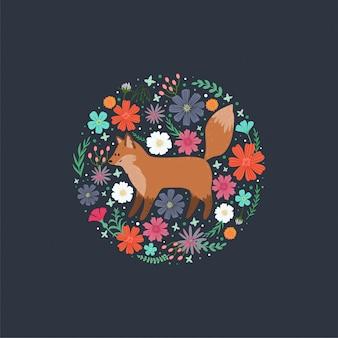 Achtergrond met een schattige vos, bladeren en bloemen.