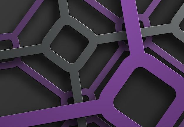 Achtergrond met een spinneweb van zwarte en paarse lijnen en ruiten op hun kruispunt.