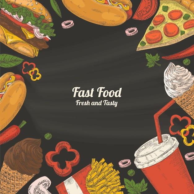 Achtergrond met elementen van fast food