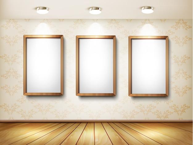 Achtergrond met frames en schijnwerpers.