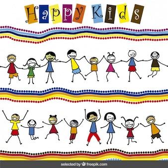 Achtergrond met gelukkige kinderen cartoon