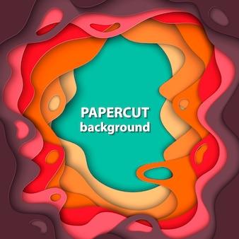 Achtergrond met gesneden oranje, rood en groen papier