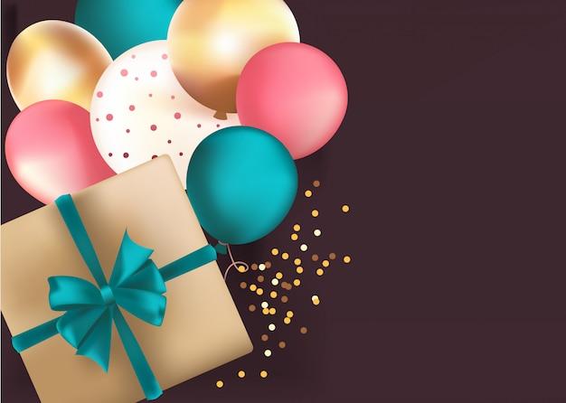 Achtergrond met gouden doos en ballonnen