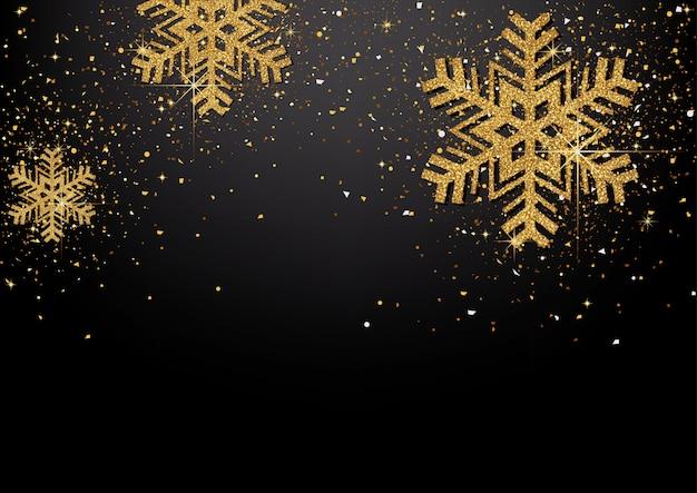 Achtergrond met gouden glinsterende sneeuwvlokken