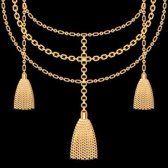 Achtergrond met gouden metalen ketting. kwasten en kettingen. op zwart. vector illustratie.