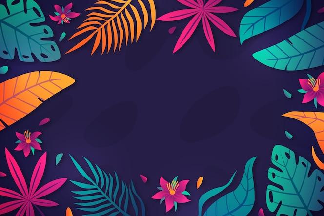 Achtergrond met gradiënt tropische bladeren