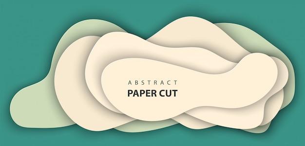 Achtergrond met groen en beige kleur papier gesneden
