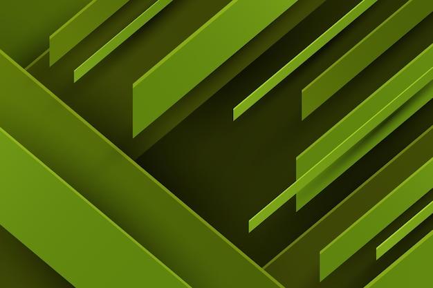Achtergrond met groene dynamische lijnen in papierstijl