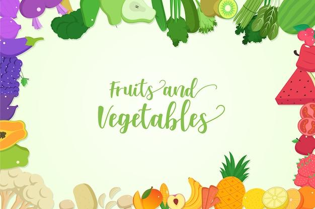 Achtergrond met groenten en fruit thema