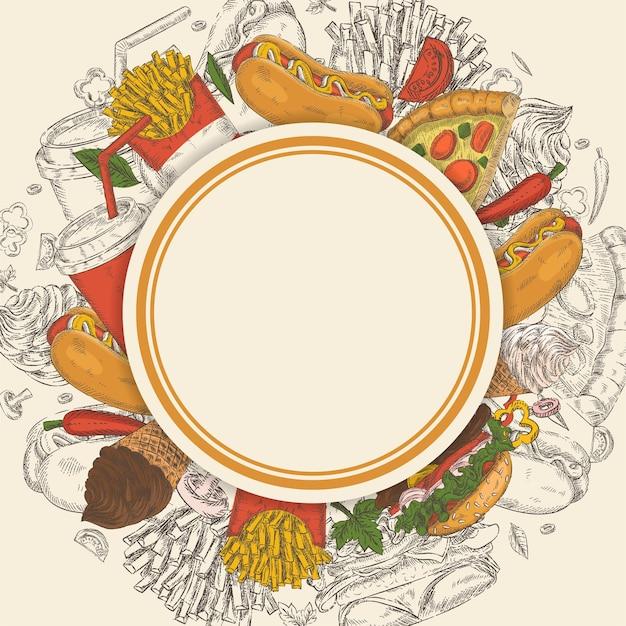 Achtergrond met handgetekende fastfood-objecten