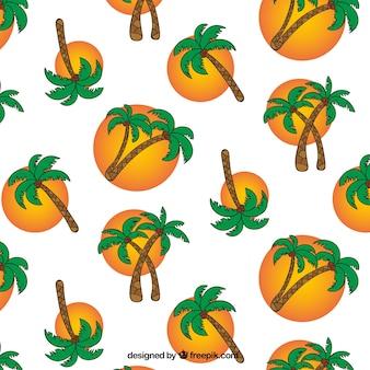 Achtergrond met handgetekende palmbomen en cirkels