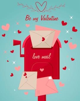 Achtergrond met harten brievenbus met liefdespost en ansichtkaarten. valentijnsdag