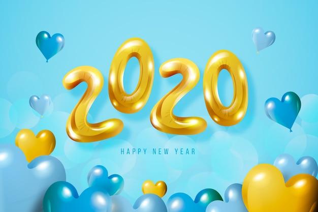 Achtergrond met het nieuwe concept van jaarballons