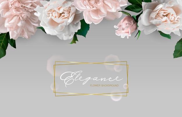 Achtergrond met horizontale bloemenrand.
