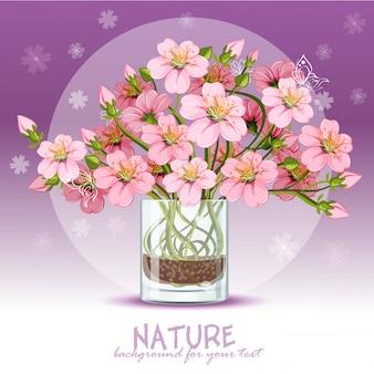 Achtergrond met kersenbloesem in een glas