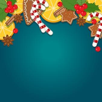 Achtergrond met kerst bakken en snoep. illustratie