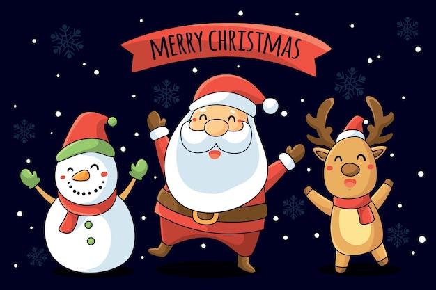 Achtergrond met kerstthema karakters