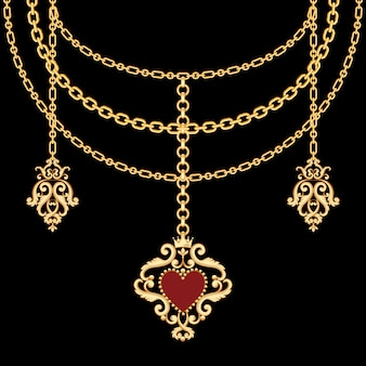 Achtergrond met kettingen gouden metalen ketting