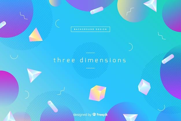 Achtergrond met kleurovergang geometrische driedimensionale vormen