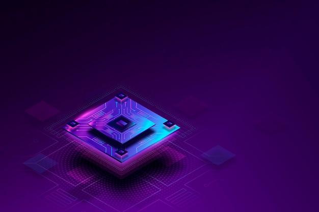Achtergrond met kleurovergang microchip processor