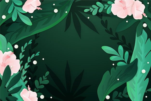 Achtergrond met kleurovergang tropische bladeren
