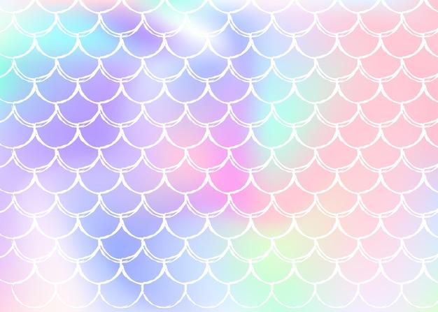 Achtergrond met kleurovergang zeemeermin met holografische schalen