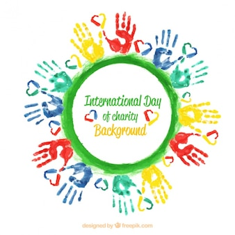 Achtergrond met kleurrijke handen en een groene cirkel