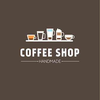 Achtergrond met kop koffie pictogrammen