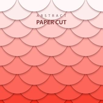 Achtergrond met koraal trend kleur papier knippen