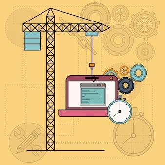 Achtergrond met laptop computer apps voor de ontwikkeling van de bouw