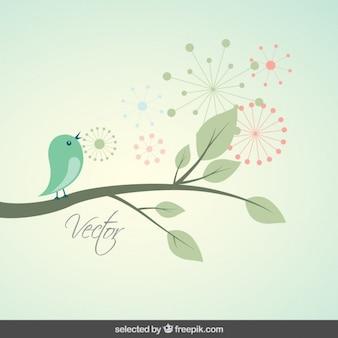 Achtergrond met leuke vogel op een tak