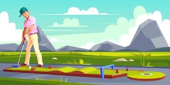 Achtergrond met man golfen op groen gras.