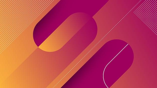 Achtergrond met memphis diagonal lines element en oranje paarse levendige kleuren