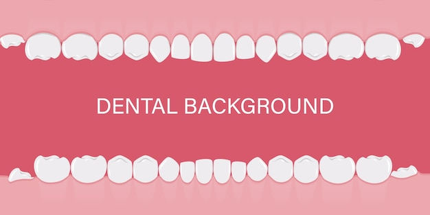 Achtergrond met menselijke tanden in een rij.