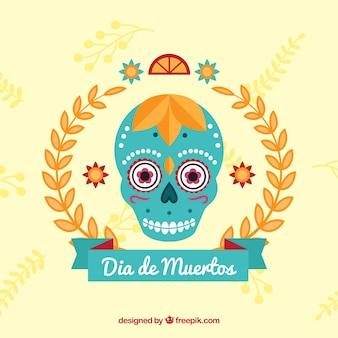 Achtergrond met mexicaanse blauwe schedel en decoratie