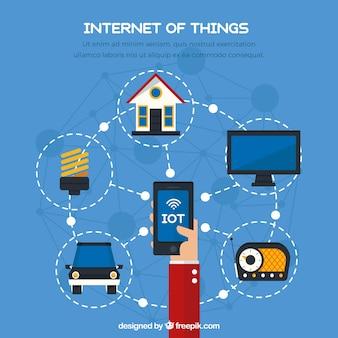 Achtergrond met mobiele en andere items die op internet zijn aangesloten