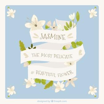 Achtergrond met mooi vintage lintje met jasmijn bericht