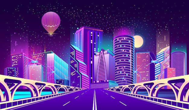 Achtergrond met nacht stad in neonlichten