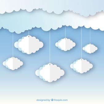 Achtergrond met papieren wolken