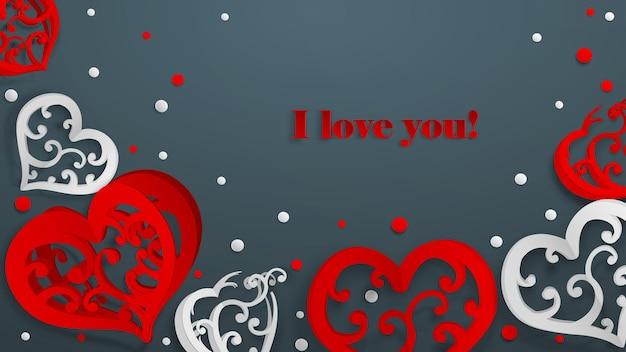 Achtergrond met papiervolumeharten, confetti en opschrift ik hou van je, rood en wit op grijs