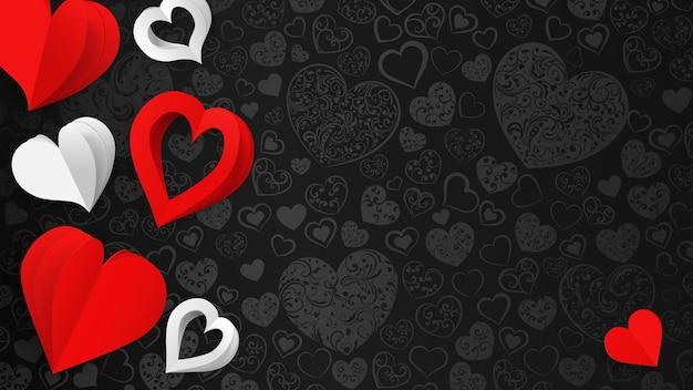 Achtergrond met papiervolumeharten, wit en rood op zwart