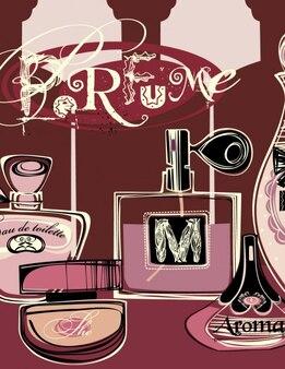 Achtergrond met parfumflesjes