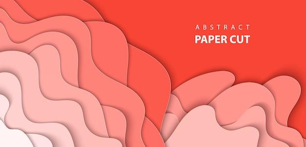 Achtergrond met pastel koraal trendkleur papier gesneden