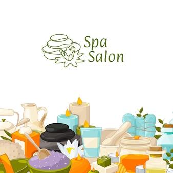 Achtergrond met plaats voor tekst met cartoon schoonheid en spa-elementen. beauty spa lotion, gezondheidscrème natuurlijke illustratie