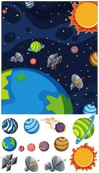 Achtergrond met planeten en zon in de ruimte